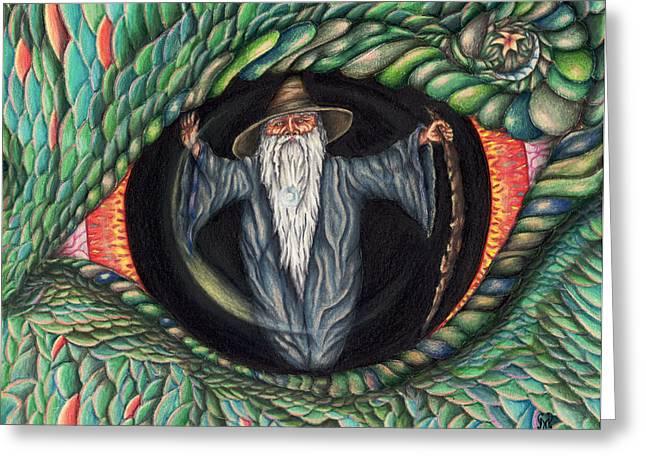 Wizard Drawings Greeting Cards - Wizard in Dragons Eye Greeting Card by Karen Musick