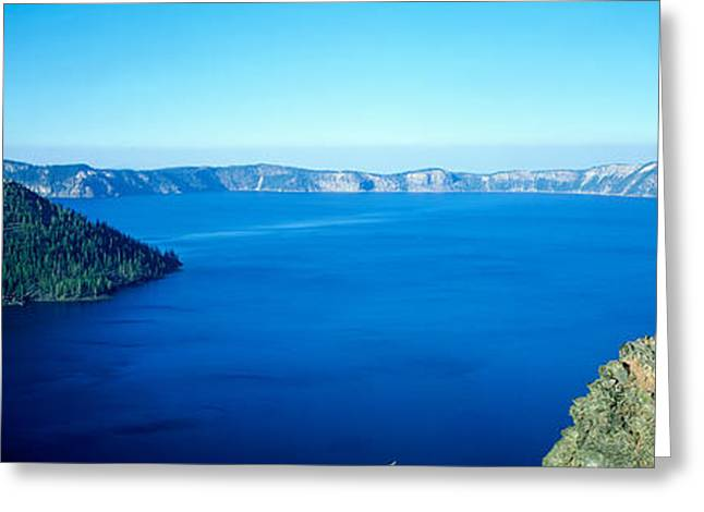 Crater Lake Panorama Greeting Cards - Wizard Island At Crater Lake, Oregon Greeting Card by Panoramic Images