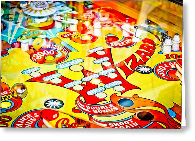 Toy Shop Greeting Cards - Wizard - Pinball Machine Greeting Card by Colleen Kammerer