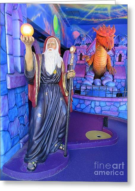 Fantasy Sculptures Greeting Cards - Wizards and Dragons Greeting Card by John Malone