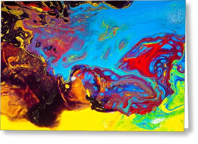 Wizard's Hat - Abstract Colorful Mixed Media Painting Greeting Card by Modern Art Prints