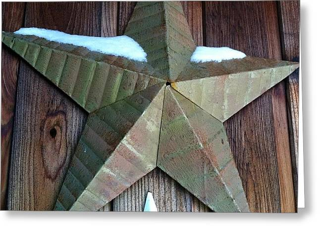 Barn Covered In Snow Greeting Cards - Wnter Star Greeting Card by Em Bickhardt