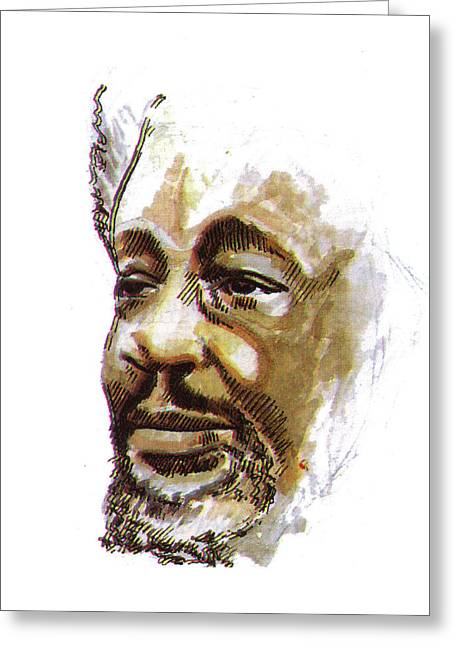 Emmanuel Baliyanga Greeting Cards - Wole Soyinka Greeting Card by Emmanuel Baliyanga