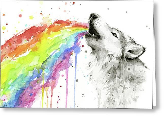Wolf And Rainbow  Greeting Card by Olga Shvartsur