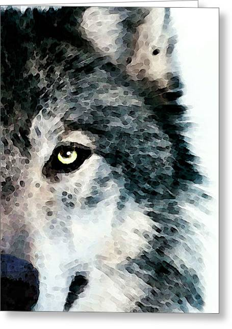 Snow Abstract Greeting Cards - Wolf Art - Timber Greeting Card by Sharon Cummings