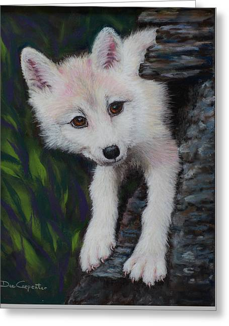 Original Photographs Greeting Cards - Wolf Cub Greeting Card by Dee Carpenter