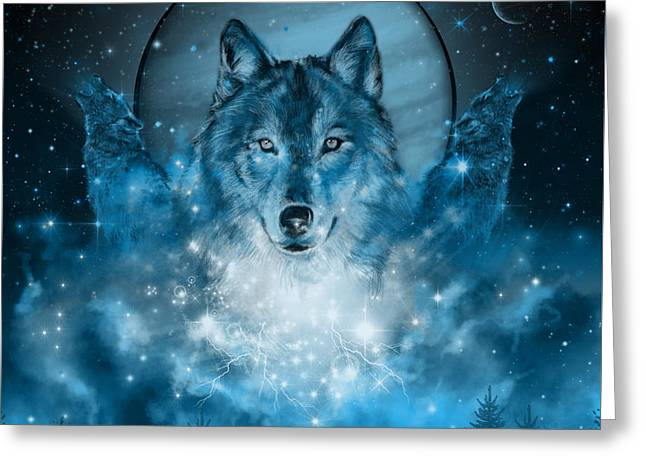 Wolf In Blue Greeting Card by Bekim Art