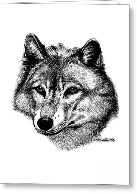 Wolves In Nature Greeting Cards - Wolf in pencil Greeting Card by Nick Gustafson