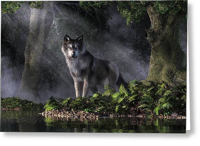 Wolf Digital Greeting Cards - Wolf in the Forest Greeting Card by Daniel Eskridge