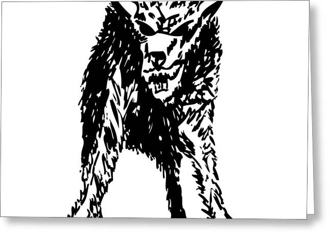 Dangerous Drawings Greeting Cards - Wolf Greeting Card by Karl Addison