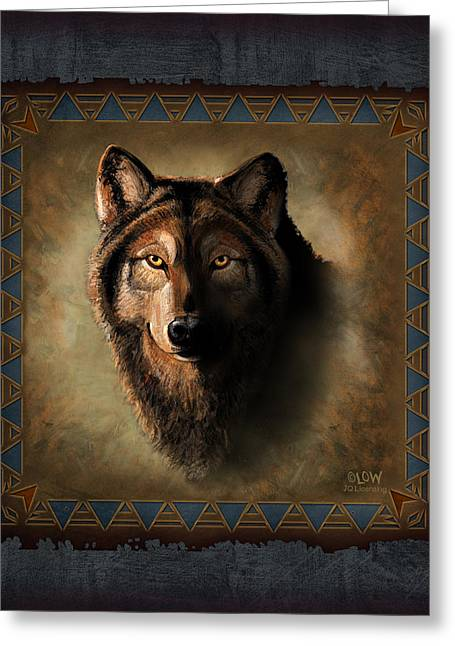 Tribal Greeting Cards - Wolf Lodge Greeting Card by JQ Licensing