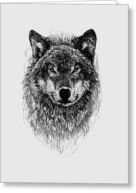Print Greeting Cards - Wolf Greeting Card by Michael  Volpicelli