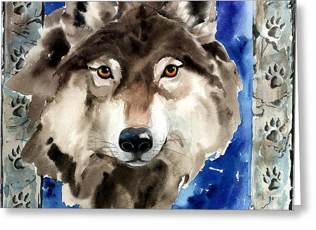 Wolf Greeting Card by Nadi Spencer