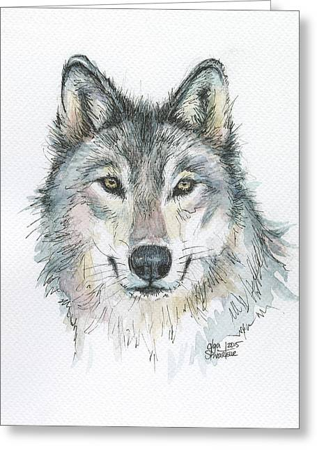 Wild Mixed Media Greeting Cards - Wolf Greeting Card by Olga Shvartsur
