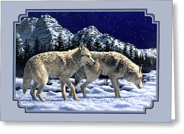 Snowy Night Night Greeting Cards - Wolf Painting iPhone Case Greeting Card by Crista Forest