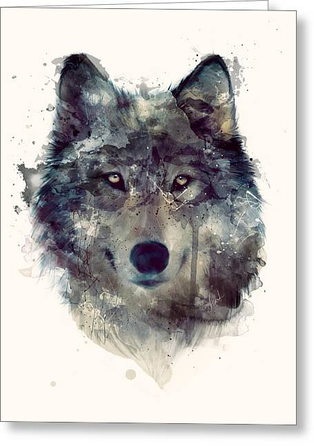 Wolf Portrait Greeting Cards - Wolf // Persevere Greeting Card by Amy Hamilton