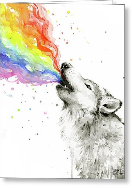 Wolf Rainbow Watercolor Greeting Card by Olga Shvartsur