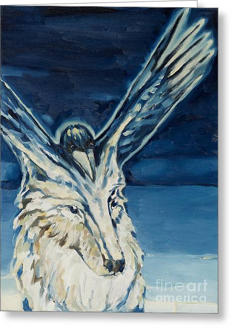 Recently Sold -  - Empower Greeting Cards - Wolf-Raven Greeting Card by Florian Divi