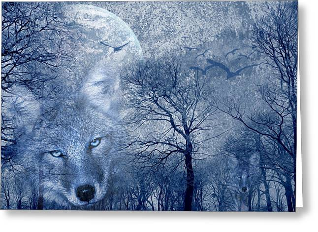 White River Mixed Media Greeting Cards - Wolf Greeting Card by Svetlana Sewell