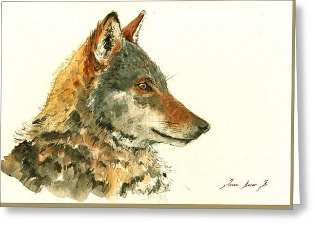 Wolf Watercolor Greeting Card by Juan  Bosco