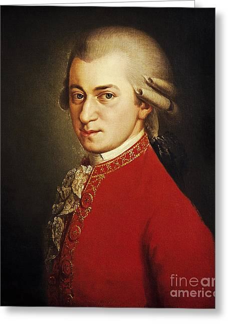 Concerto Greeting Cards - Wolfgang Amadeus Mozart, Austrian Greeting Card by Photo Researchers