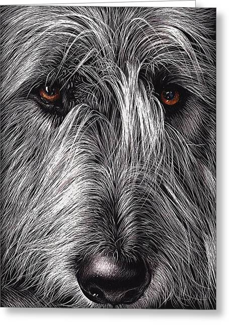 Dog Portrait Mixed Media Greeting Cards - Wolfhound Greeting Card by Elena Kolotusha
