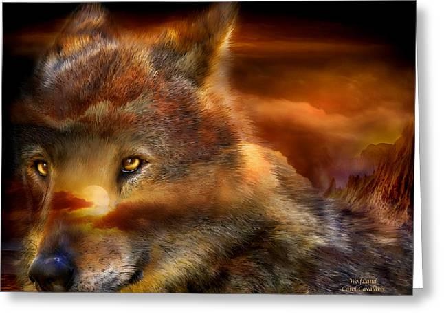 Wildlife Art Greeting Cards Greeting Cards - WolfLand Greeting Card by Carol Cavalaris