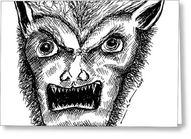 Wolf Man Greeting Cards - Wolfman Greeting Card by Karl Addison
