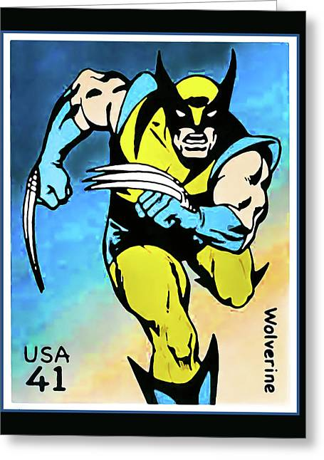 Book Title Paintings Greeting Cards - Wolverine Greeting Card by Lanjee Chee