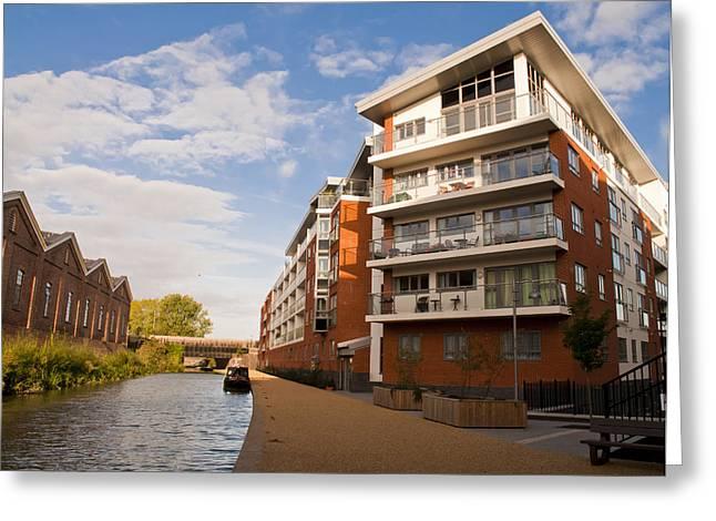 Milton Keynes Greeting Cards - Wolverton Park canalside flats Greeting Card by David Isaacson