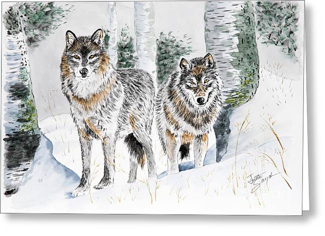 Wolves In Nature Greeting Cards - Wolves in the Birch Trees  Greeting Card by Joette Snyder