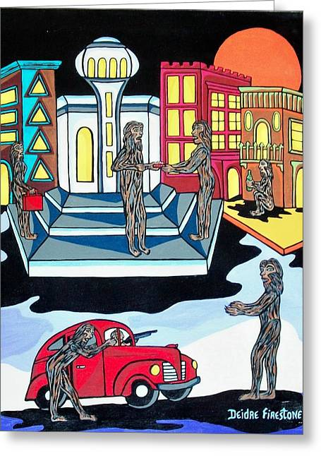 Hijacker Greeting Cards - Wolves Night Out Greeting Card by Deidre Firestone