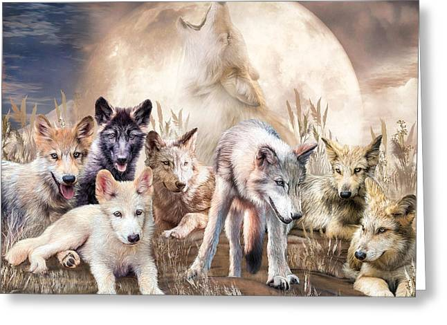Wolves - Young And Wild Greeting Card by Carol Cavalaris