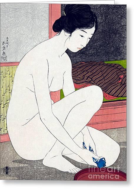 Woman After Bath  Greeting Card by Goyo Hashiguchi