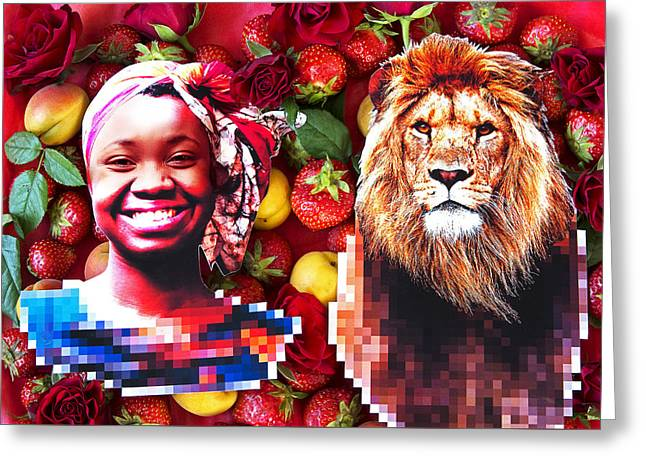 Lions Greeting Cards - Woman and a lion in a fruit salad Greeting Card by Nikolay Devnenski