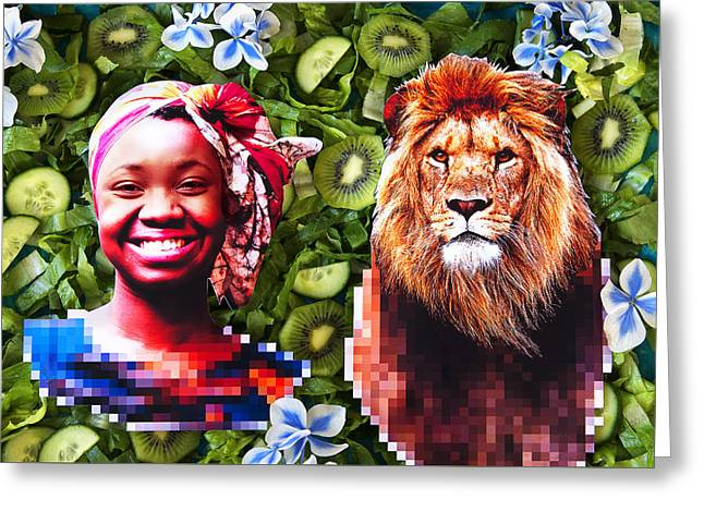 Lions Greeting Cards - Woman and a lion in a green salad Greeting Card by Nikolay Devnenski