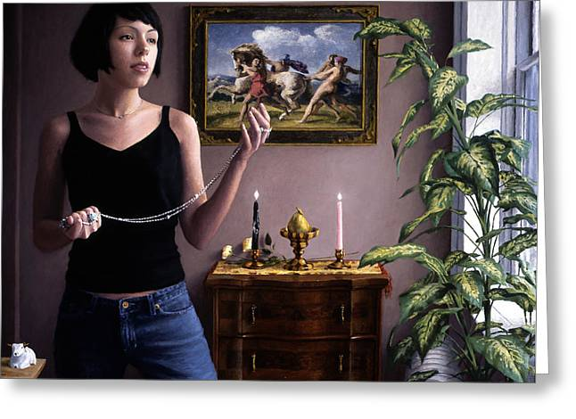 Biracial Greeting Cards - Woman and Chain Greeting Card by Charles Pompilius