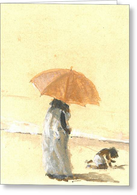 Woman And Child On Beach Greeting Card by Lincoln Seligman