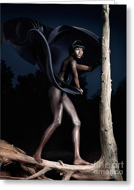 African Cloth Greeting Cards - Woman and Dead Tree Greeting Card by Oleksiy Maksymenko