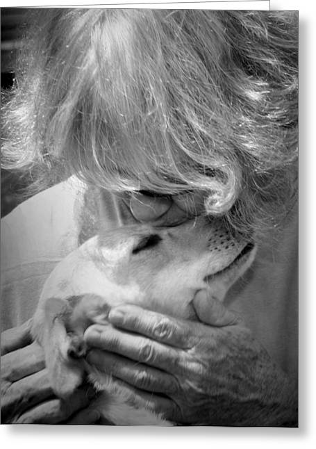 Humane Society Greeting Cards - Woman and Dog Greeting Card by Kelly Hazel