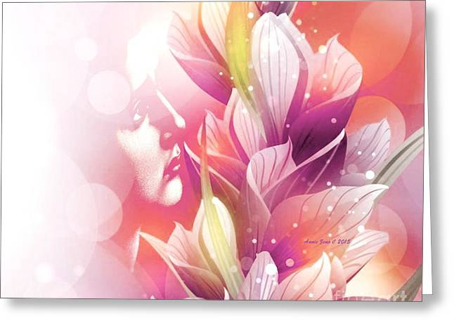Woman And Flowers Greeting Card by Annie Zeno