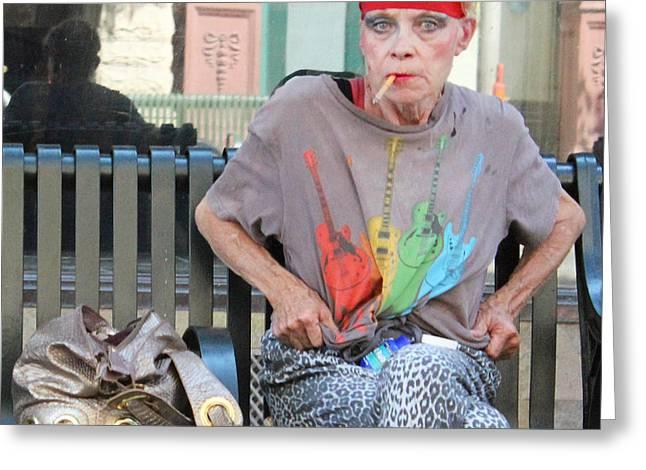 Woman And Gold Purse Greeting Card by Joe Jake Pratt