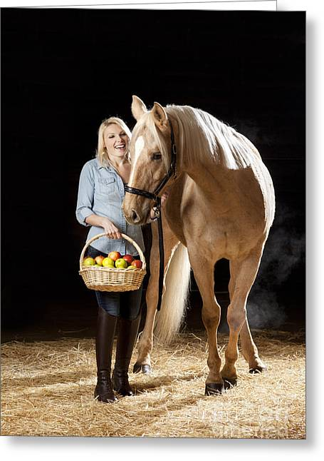 Portraits Greeting Cards - Woman and horse with apples Greeting Card by Wolfgang Steiner