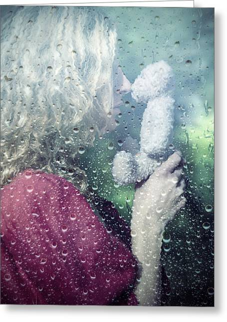 Person Greeting Cards - Woman And Teddy Greeting Card by Joana Kruse