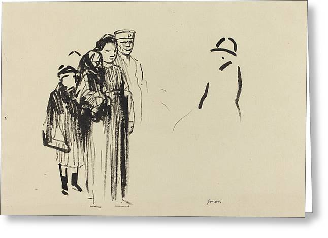 Child Soldier Drawings Greeting Cards - Woman And Two Children With German Soldiers Greeting Card by Jean-louis Forain