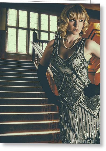 Woman At Foot Of Grand Staircase Greeting Card by Amanda Elwell