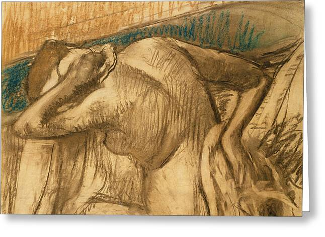 Back Pastels Greeting Cards - Woman at her Toilet Greeting Card by Edgar Degas