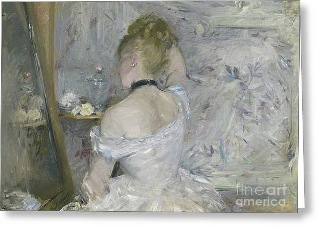 Woman At Her Toilette Greeting Card by Berthe Morisot