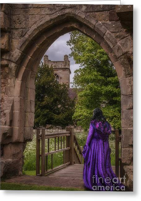 Churchyard Greeting Cards - Woman At Old Castle Greeting Card by Amanda And Christopher Elwell