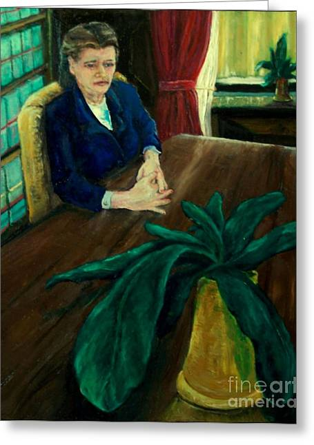 Divorce Greeting Cards - Woman at the Lawyers Office Greeting Card by Thomas Fleming